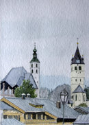 Kitzbuhel churches and roofs 28x20cms