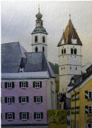 Kitzbuhel churches from high street 28x20cms
