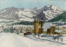 Kitzbuhel in snow 26x36cms