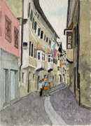 Klausen street with flags 28x20cms