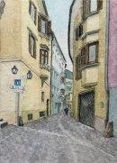 Brixen street with nun 28x20cms