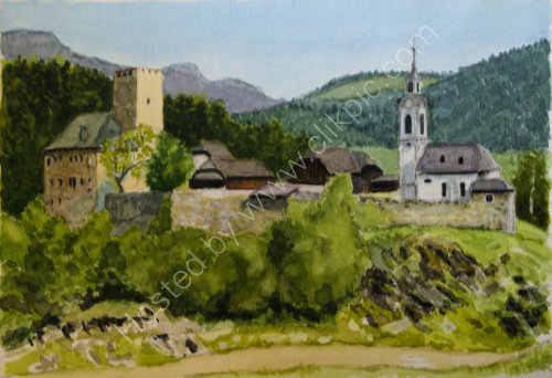Lamprechtsberg 'castle' 32cm x 22cm