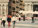 Madrid tourists watercolour & pastel17.3x23cms