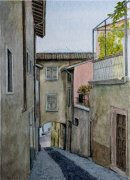 Way to the lake showing roof gardens 28cm x 20cm