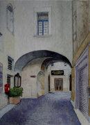 View through arch to Via Capitanato 26cm x 36cm