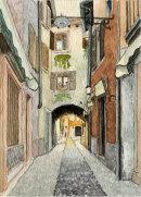 Malcesine street with arch 28x20cms