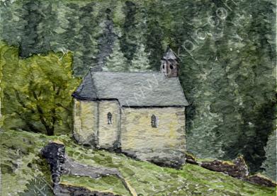 Matsch chapel and schloss ruins 28cm x 20cm