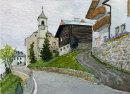 Farm and church at Matsch, Sud Tirol 20x28