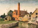 Mill, The Slaughters Cotswolds watercolour & pastel 25x34cms