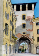 Ponte Pietra Tower, Verona 26x36cms
