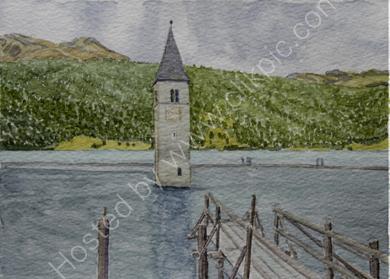 The jetty on Reschensee with Graun tower 28cm x 20cm