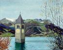 Reschensee Oil on canvas 50cm x40cm