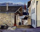 Schlanders street scene Oil on canvas 50cm x40cm