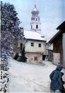 Snow clearing in Tschars 28x20cms