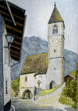 St Leonards church at Laatsch 28cm x 20cm
