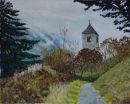 St Sisinius church, Laas Oil on canvas 50cm x 40cm
