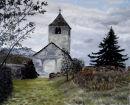 St Sisinius church Laas Oil on canvas 50cm x 40cm