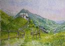 St Ippolito chapel in the fields, Glaiten, Sudtirol 20x28cms