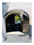 Tramin arch and staircase 36x26cms