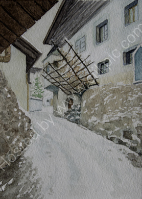Tschars Grossgasse with a dusting of snow 28cm x 20cm