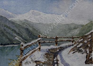 Vernagt Stausee, first snow 28cm x 20cm