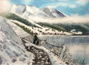Vernagt Stausee in snow with dam 32x44cms
