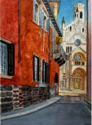 Verona street and church 26x36cms