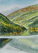 Zoggle Stausee from the dam 28x20cms