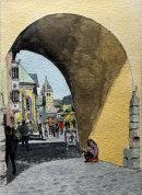 Beggar at the Gate, Kitzbuhel 36x26cms