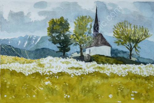 Chapel in the fields 1 Reischach 30cm x 20cm