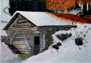 Hut in snow St Gertraud 28cm x 20cm