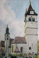 Kitzbuhel church from graveyard 28x20cms