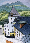 Kitzbuhel from museum roof 28x20cms