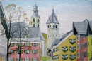Kitzbuhel churches, high street view 20x28cms
