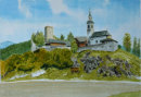 Lamprechtsberg with chapel in foreground 31cm x 22cm