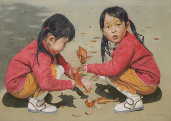 Collecting Leaves  (oil)