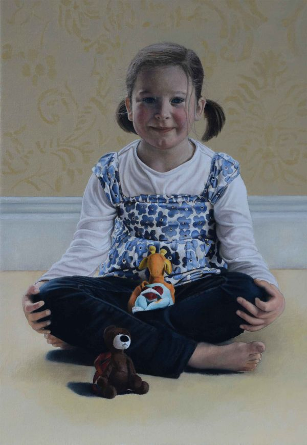 Hazel, Giraffe and Teddy (oil)