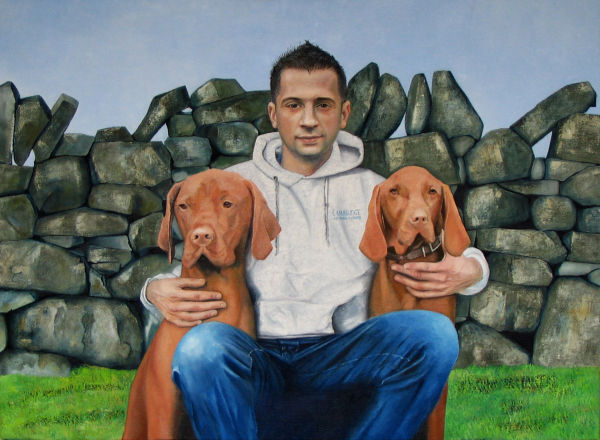 Mikey with his dogs Dudley and Oscar<br> (oil)