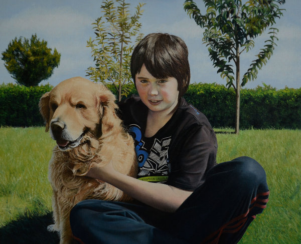 Portrait of Gordon Junior and his dog Jack (oil)