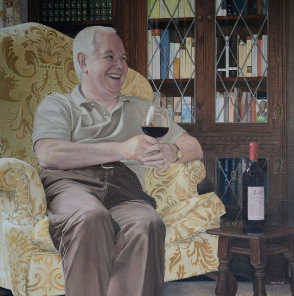 Portrait of Brian Watson, a wine and book lover (oil)