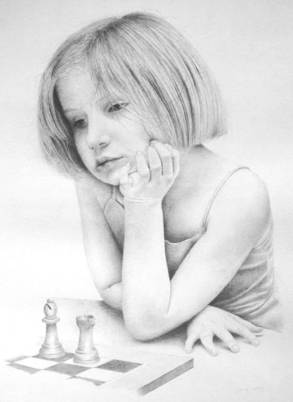 Study for The Chess Game (pencil)