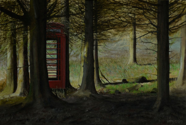 Telephone Box in the Landscape #1 (oil)