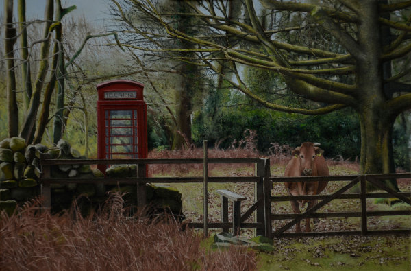 Telephone Box in the Landscape #4 (oil)
