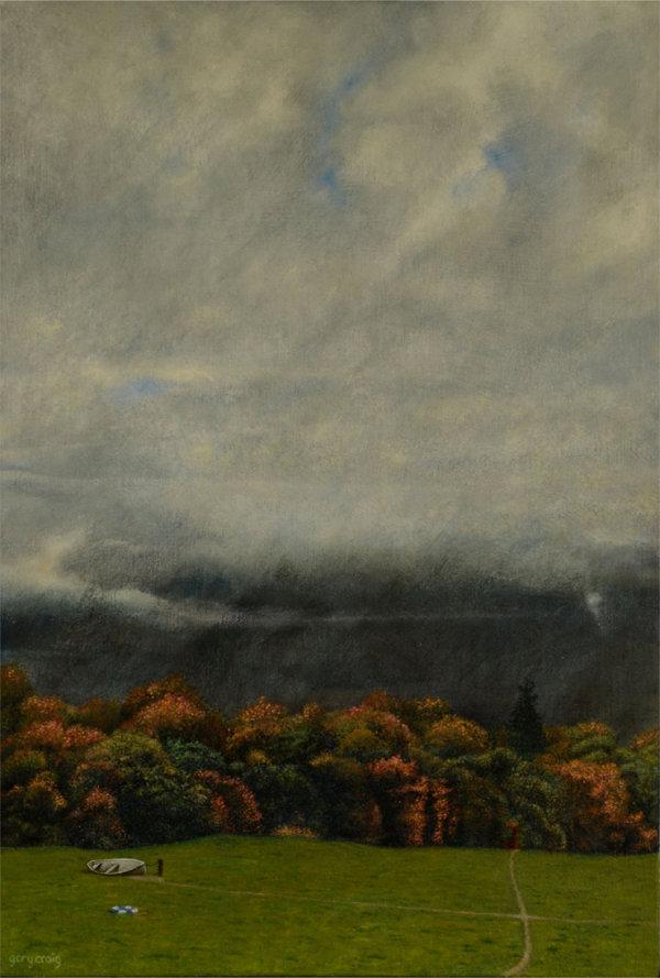 Telephone Box in the Landscape #9 (oil)