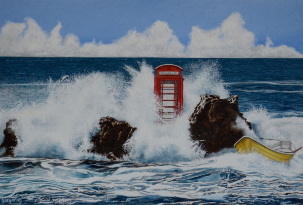 Telephone Box in the Seascape #1 (oil)