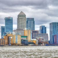 Canary Wharf from Thames Pathway