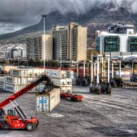 Cape Town Docks background Table Mountain