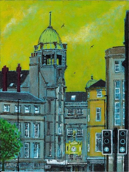 109 Northern Goldsmiths, Clayton Street -acrylic on board by Allan White