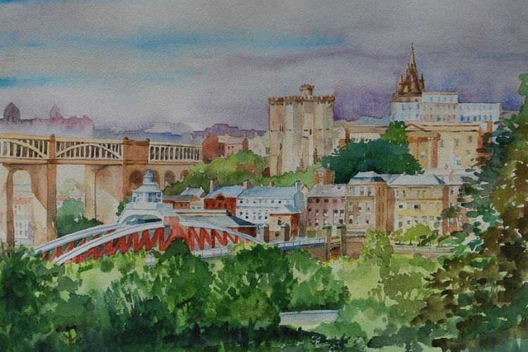 Newcastle from Gateshead -watercolour