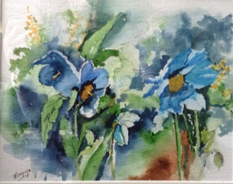 Blue Poppies watercolour by Audrey Drynan